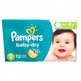 PAÑALES PAMPERS BABY DRY CAJA TALLA 2